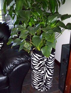 """Zebra Animal Print Plant Stand  The Jungle look is in, and what a statement this makes !       Faux Fur Tubular Base Plant Stand. Any plant will make a wild dramatic statement in these intriguing designed plant stands. Just insert your favorite plant and pot, and the look is all your own.  Made in the USA.     Approximately 12"""" in Diameter      Available in 3 Heights:  4 '  High , 3 '  High, 2 ' High.  $110.00 - $70.00 Leopard Prints, Plant Stands, Faux Fur, Plant Leaves, House Ideas, Base, Plants, Animals, Design"""