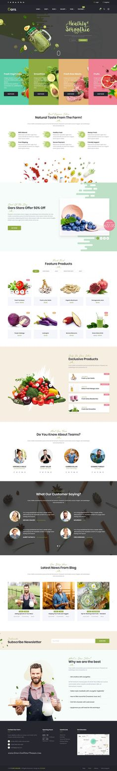 Oars is clean and modern design 8in1 responsive WooCommerce WordPress theme for creative #organic store and fresh #food shop eCommerce website to live preview & download click on Visit  #onlineshopping