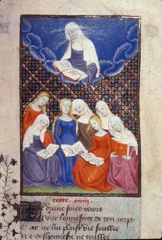 Harley 4431 fol 107 detail (Diana reading). Paris, France 1410-1414.