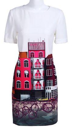White Short Sleeve Buildings Bikes Print Silk Dress pictures