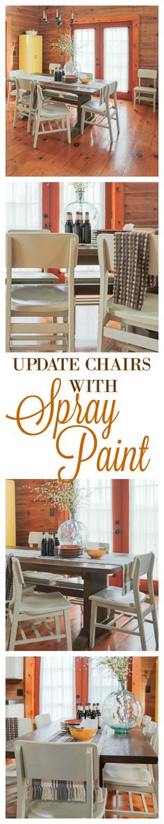 How to update wooden chairs using spray paint. I picked Almond for our 8 chairs and left the table in the original dark walnut stain.