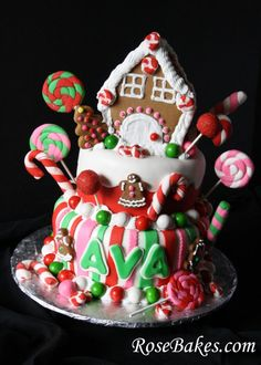 Gingerbread House Christmas Candy Birthday Cake Wonky