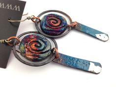 Raku Ceramic Bead and Enameled Copper Earrings by MAKUstudio