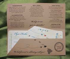 Royal Blue, Sage Green & Tan Island Sunset & Hawaiian Map Antique Boarding Pass Wedding Invitations
