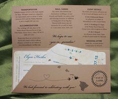 Royal Blue, Sage Green & Tan Island Sunset & Hawaiian Map Antique Boarding Pass Wedding Invitations
