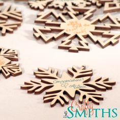 cool gift tags/ornaments. Winter Wedding Guest Book Alternative - 25 Wooden Laser-Cut Holiday Snowflake Ornaments - 3 Inch Diameter