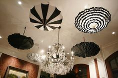 black and white parasols hanging from the ceiling