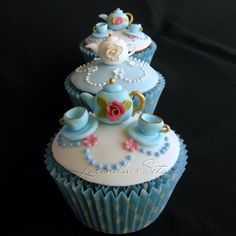 Mini modeling clay teacups and teapots cuppies