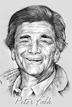 Pencil Portraits - Shooting The Messenger: Peter Falk - Discover The Secrets Of Drawing Realistic Pencil Portraits.Let Me Show You How You Too Can Draw Realistic Pencil Portraits With My Truly Step-by-Step Guide. Graphite Drawings, Pencil Art Drawings, Art Sketches, Peter Falk, Celebrity Drawings, Celebrity Portraits, Pencil Portrait, Portrait Art, Drawing Techniques Pencil