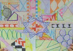 Tekening met geometrische figuren Quilts, Blanket, School, Color, Art, Art Background, Quilt Sets, Colour, Kunst