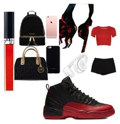 """""""Red n Black gang n School"""" by pettyallthe on Polyvore featuring WearAll, L'Agence, Beats by Dr. Dre, Felony Case, Michael Kors, MICHAEL Michael Kors and Christian Dior"""