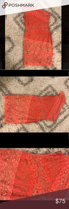 FUN Bebe dress for a wedding or VEGAS! Sexy lace orange and nude Bebe dress. Perfect condition. Worn once! bebe Dresses Mini