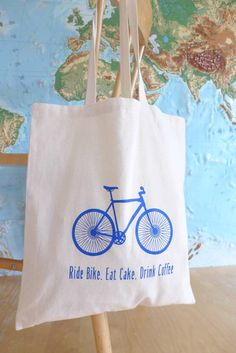 Ride Bike, Eat Cake, Drink Coffee Tote Bag