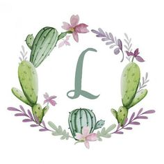 Personalized Watercolor Cactus Wreath Nursery by HelloLittleMoon