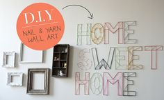 diy nail and yarn wall art