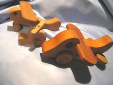 vintage toy wooden airplanes (one by MacMillan Woodcraft) & tiny helicopter