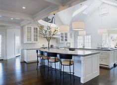 skylight, white ceiling, white walls, dark wooden floors. High ceilings, mostly white furniture.