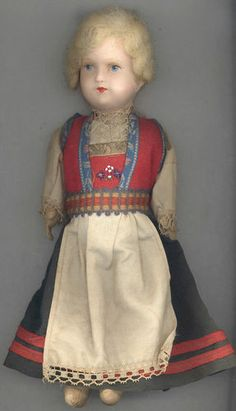 "11"" Antique Hardanger Doll from Norway  I had a doll similar to this one. Moth ate holes in the clothes and she looked rather scruffy. So I threw her away. Regret."