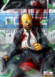 Grand Theft Simpsons ~ As ilustrações de Dan LuVisi Cartoon Kunst, Cartoon Art, Cartoon Characters, Animated Gifs, Simpsons Art, Supreme Wallpaper, Dark Disney, Neon Aesthetic, Arte Horror