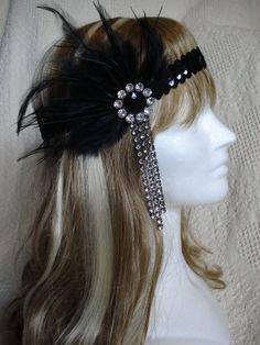 1920s Flapper Headband Black Headband Great Gatsby by Axentz, $30.00