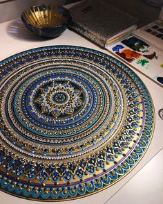 Always my favourite colour combination : Blues and Golds ✨ #mandala // #murderandrose