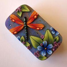 Orange Dragonfly Slide Top Tin Sewing Needle Case via Etsy