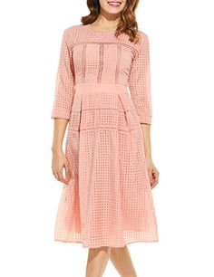 ANGVNS Womens Casual Half Sleeve Plaid O Neck Slim Color Lace Dress *** Read more reviews of the product by visiting the link on the image.