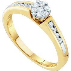 10K Yellow Gold 0.27ctw Sparkling Channel Set Diamond Flower Engagement Ring