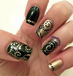 Swirls and Dots  #Nailart #gold #black #polish - bellashoot.com