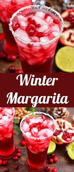 Winter Margarita is a great cocktail that combines gold tequila with tangy and slightly sweet pomegranate and cranberry juices and a touch of orange liqueur. It's a great cocktail for festive holiday… More Winter Cocktails, Holiday Drinks, Fun Cocktails, Summer Drinks, Cocktail Recipes, Holiday Parties, Drink Recipes, Homemade Margarita Mix, Easy Margarita Recipe