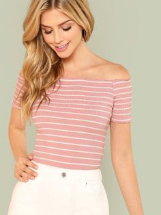 To find out about the Striped Lettuce Trim Rib Knit Bardot Tee at SHEIN, part of our latest T-Shirts ready to shop online today! Moda Fashion, Fashion News, Fashion Outfits, Fashion Styles, Fashion Women, Fashion Black, Fashion Fashion, High Fashion, Vintage Fashion