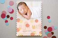 Our Dotted Scallop Shape lends itself well to softer designs like this 'Spring Hatch' birth announcement by Annie Clark.