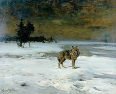 Lone Wolf 8 Winter Village  Alfred Kowalsky-Wierusz  12 x 16
