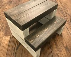 A beautifully crafted segmented kids step stool made to withstand everyday toddler use. With steps t Scrap Wood Projects, Small Woodworking Projects, Woodworking Furniture, Diy Woodworking, Diy Furniture, Woodworking Classes, Youtube Woodworking, Woodworking Equipment, Pallet Ideas