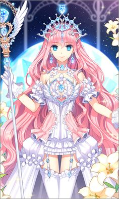✮ ANIME ART ✮ empress. .. crown. . .jewelry. . .corset. . .septer. . .wings. . .pink hair. . .garters. . .stockings. . .flowers. . .night sky. . .moon. . .magical. . .sparkling. . .cute. . .kawaii
