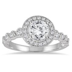 1 1/3 Carat Diamond Halo Antique Engagement Ring in 14K White Gold