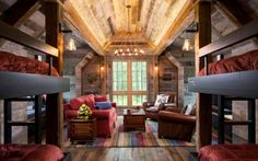 Bunk House with Rustic Interiors Idea of setting the bunks back but not in a separate space - and having a gathering space Bunk Rooms, Bunk Beds, Casas Magnolia, Wooden Wall Design, Casa Top, Attic Renovation, Attic Remodel, Rustic Interiors, Log Homes