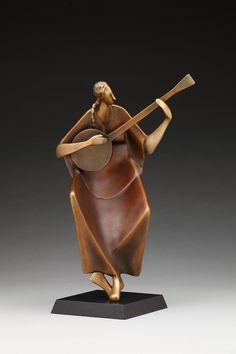 Items similar to Banjo (Fine Art Bronze Sculpture) - Columbine Gallery on Etsy Modern Sculpture, Abstract Sculpture, Wood Sculpture, Sculpture Garden, Statues, Small Sculptures, Metal Sculptures, Gadgets, Funny Art