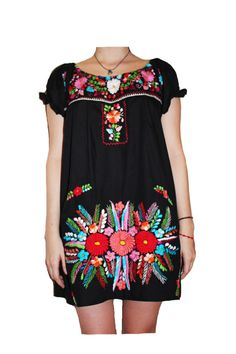 Black Versatile Mexican Hand Embroidered Party by MiMeroMexico