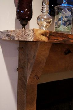 Gorgeous Rustic Mantel (I love this!  So much better than the weird mantel we         have.  aw)                  Love this