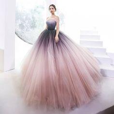 An ombre Look for a Wonderful Debut❤️ - Ombre Prom Dresses, Unique Prom Dresses, Quinceanera Dresses, Dream Wedding Dresses, Elegant Dresses, Pretty Dresses, Beautiful Dresses, Quince Dresses, Ball Dresses