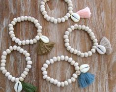 Five Tassel Shell Anklet   Wooden Beaded with 5 Cowrie Shells