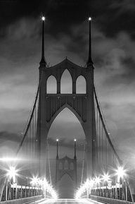 St Johns Bridge Portland, Oregon - Foggy Night  Black and White St. John's Bridge night-shot! Beautiful  <3