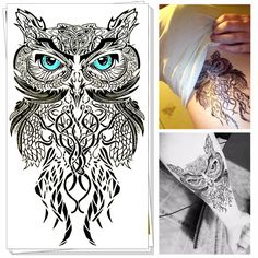 25 Style Wild Temporary Tattoo Body Art, Blue Eyes Owl Designs, Flash Tattoo Sticker Keep 3-5 days Waterproof 20*12cm ** This is an AliExpress affiliate pin.  Click the VISIT button to find out more on AliExpress website