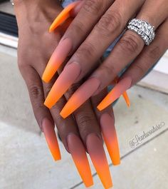 Wedding Nails-A Guide To The Perfect Manicure – NaiLovely Orange Ombre Nails, Orange Acrylic Nails, Bright Summer Acrylic Nails, Best Acrylic Nails, Bright Orange Nails, Nails Polish, Aycrlic Nails, Hot Nails, Stiletto Nails