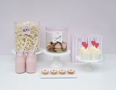 XOXO Pink dessert table for a girls birthday party | Original partyware from Papereskimo.com