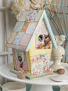 Decoupage scrapbook paper onto a wood birdhouse. Paint the trim. Shabby Chic Bedrooms, Shabby Chic Homes, Shabby Chic Furniture, Deco Furniture, Furniture Design, Shabby Chic Crafts, Shabby Chic Decor, Shabby Chic Garden, Spring Home Decor