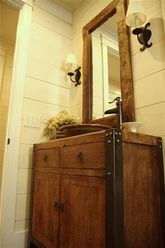 rustic bathroom... with a copper sink would be gorgeous!!! Love it!