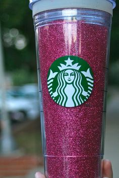 I need to make this! Pink glitter starbucks mug.