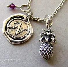 Pineapple Charm Necklace, Personalized Antique Silver Wax Seal Birthstone Initial, Antique Silver Pineapple Charm Necklace on Etsy, $16.92 CAD